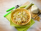 stock photo of leek  - pasta with leek and scamorza cheese - JPG
