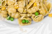 picture of green pea  - Pasta with green peas and corn - JPG