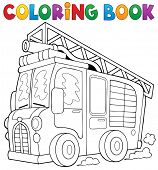 picture of fire truck  - Coloring book fire truck theme 1  - JPG