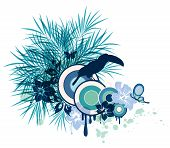 stock photo of tropical birds  - Summer decorative vector background with tropical flowers palm and bird - JPG