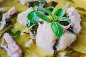 stock photo of thai food  - green curry with pork thai cuisine delicious food - JPG