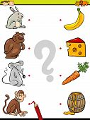 pic of brain-teaser  - Cartoon Illustration of Education Element Matching Game for Preschool Children with Animals and their Favorite Food - JPG