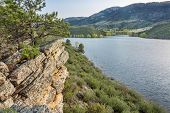 picture of horsetooth reservoir  - sandstone cliff and cove  - JPG