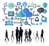 stock photo of socialism  - Social Media Social Networking Connection Data Storage Concept - JPG