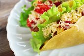 picture of tacos  - Tasty taco on plate close up - JPG