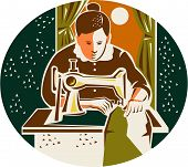 image of oval  - Illustration of a female seamstress dressmaker with sewing machine sewing set inside oval shape with curtain and moon in the background done in retro style - JPG