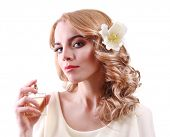 image of perfume bottles  - Beautiful young woman with perfume bottle isolate on white - JPG