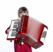 foto of accordion  - very young girl with accordion in studio against white background - JPG