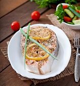 picture of salmon steak  - Baked salmon steak with lemon and herbs - JPG