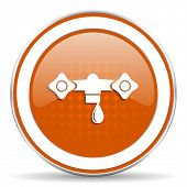 stock photo of hydraulics  - water orange icon hydraulics sign  - JPG