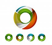 stock photo of universal sign  - Set of abstract geometric company logo ring - JPG