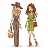 stock photo of outfits  - Beautiful and stylish fashion girls - JPG