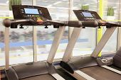 image of treadmill  - image of treadmills in a fitness hall - JPG