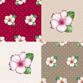 picture of azalea  - Patchwork seamless floral azalea pattern texture background with decorative elements - JPG