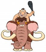 picture of mammoth  - Happy Caveman Over Mammoth - JPG