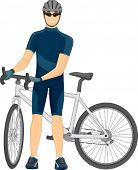 picture of beside  - Illustration of a Cyclist Standing Beside His Bike - JPG
