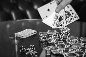 image of poker hand  - Poker cards and chips on the table - JPG