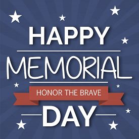 picture of ribbon decoration  - illustration for Happy Memorial Day with red ribbon - JPG