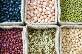 picture of soybeans  - Collection of grain green bean red bean soybean black bean in bag cereal product is healthy food nutrition eating and fibre food - JPG