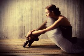 picture of classic art  - Professional ballet dancer resting after the performance - JPG