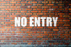 foto of no entry  - Red Brick wall texture background with a word No Entry - JPG