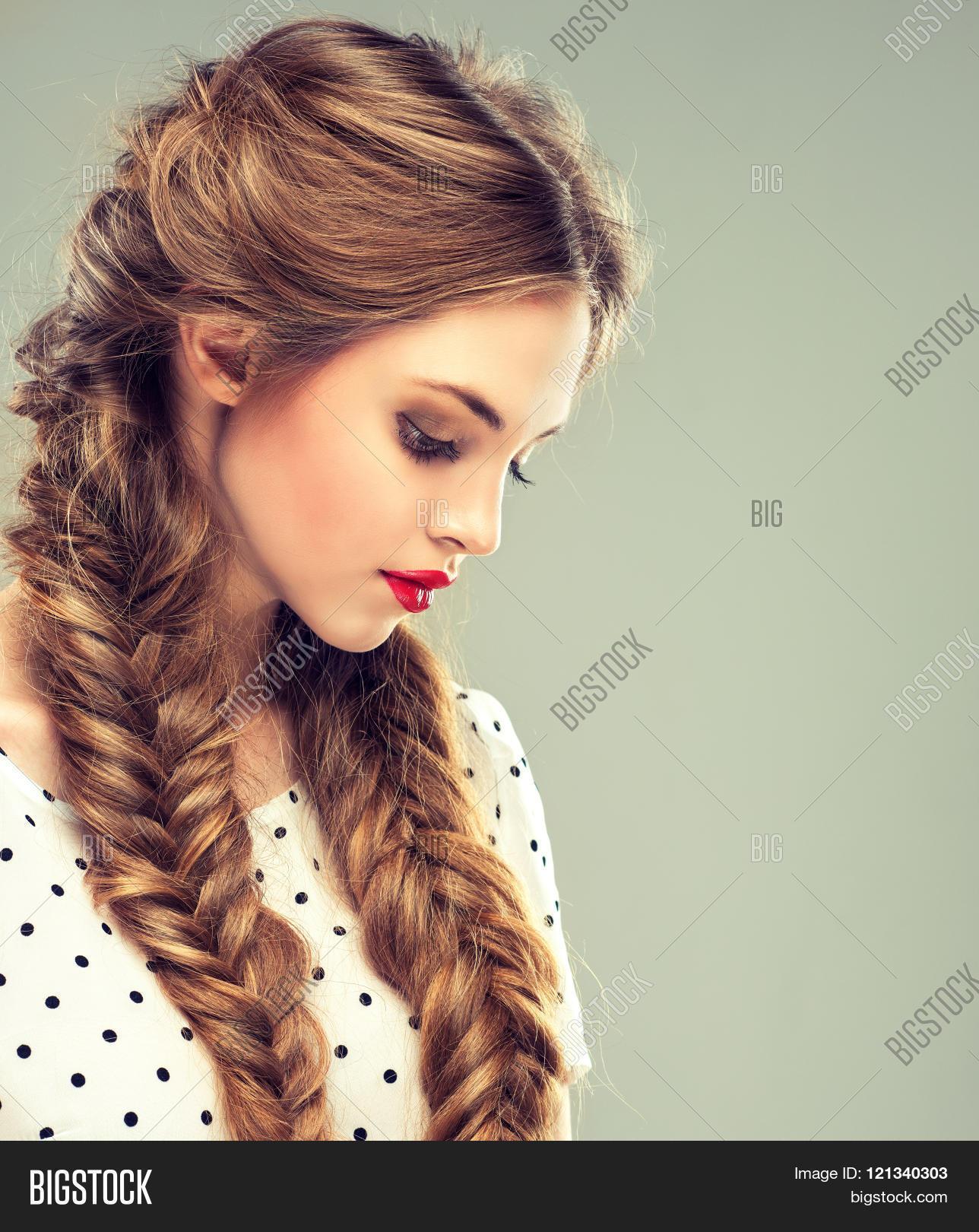 hair Bikini brunette two pigtails