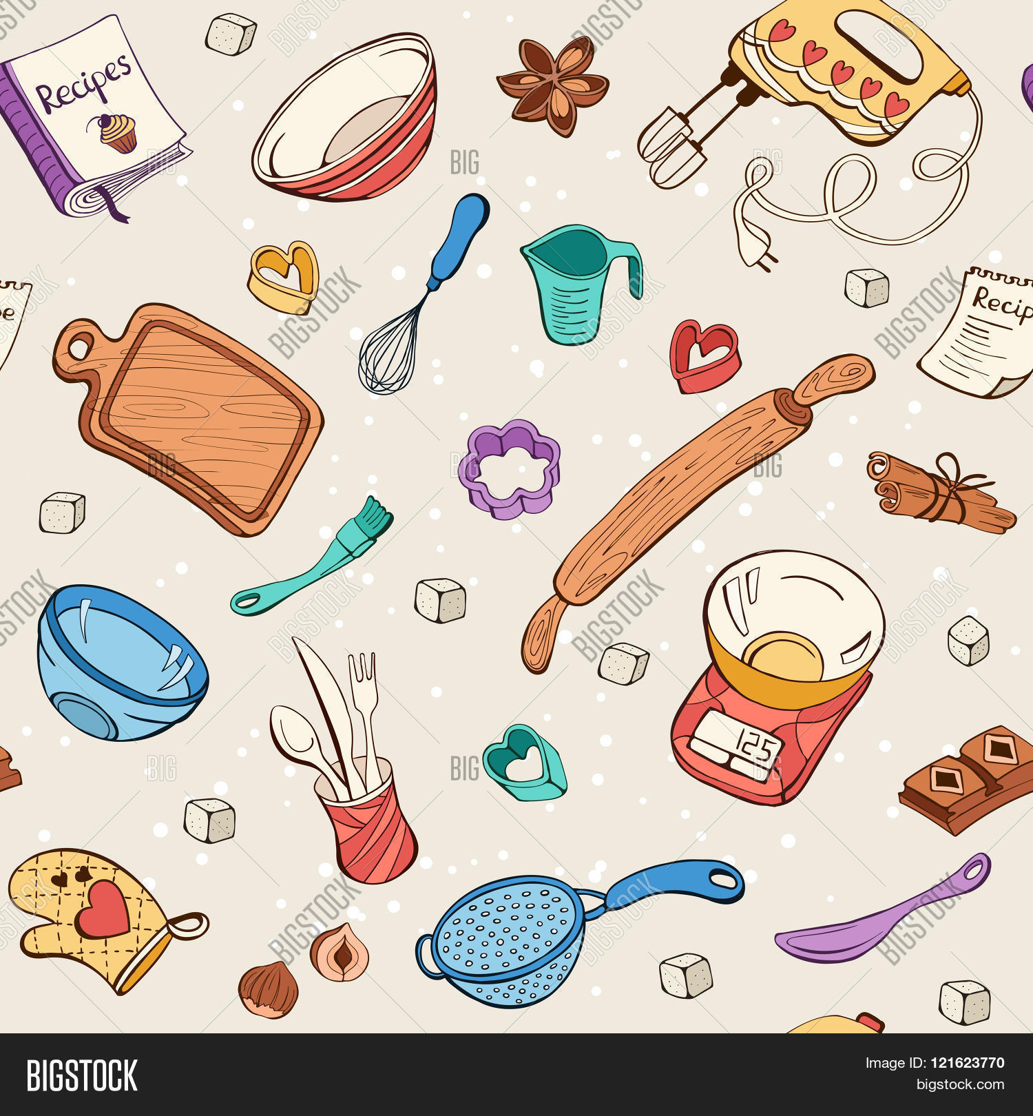 Kitchen Design Names Baking Tools Background Vector Amp Photo Bigstock
