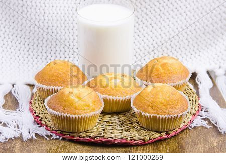 Sweet Vanilla Domestic Cakes And Glass With Milk