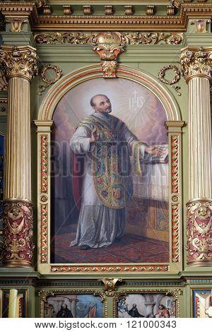 ZAGREB, CROATIA - MAY 28: Saint Ignatius of Loyola, altarpiece in the Basilica of the Sacred Heart of Jesus in Zagreb, Croatia on May 28, 2015