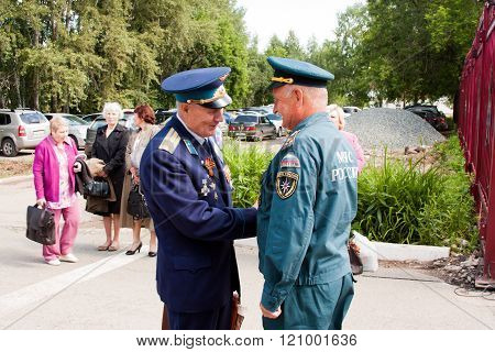 Perm, Russia, July 04.2015:people In The Form Of At A Meeting Of Veterans