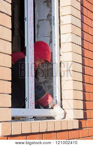 Perm, Russia, November 19.2015:installation Of  Plastic Window