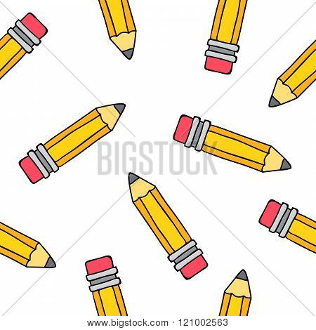 Seamless Vector Pattern Of Yellow Pencils