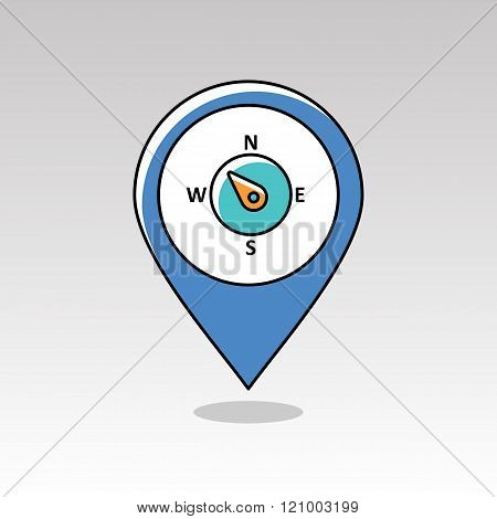 Compass Wind Rose Pin Map Icon. Weather