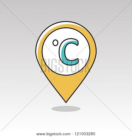 Degrees Celsius Pin Map Icon. Meteorology. Weather