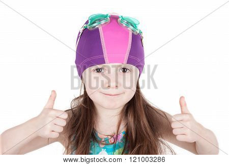 young girl swimmer with OK gesture isolated on white background
