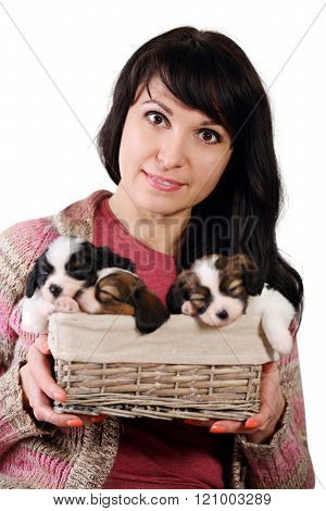 woman holding a basket, Isolated on white
