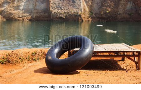 the Out door black swim ring for background