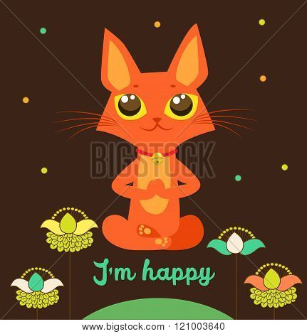 Meditating Cat Vector. Yoga Cat Vector. Cute Red Cat And Message I'M Happy. Vector For Poster Print Greeting Card T Shirt Apparel Design. Yoga Cat Figurine. Cat Costume. Cat As Toy. Yoga Cat Pose.