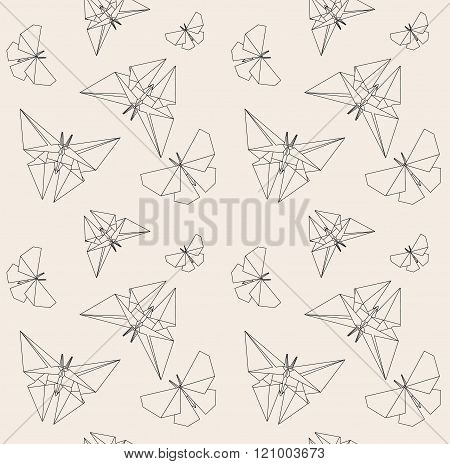 Thin Line Butterfly. Paper Origami Style. Vector Seamless Pattern. Origami To Make. How To Make Origami. Paper Origami. Origami Easy. Wrapping Paper. Japanese Tradition. Hand Drawn.