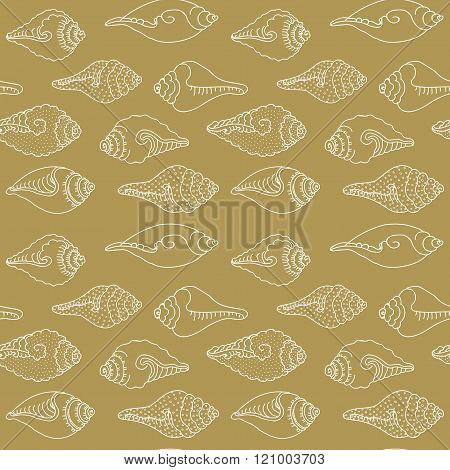 Vector Pattern With Sea Shells. Geometric Wave Background. Stylish Modern Print. Cute Background For Website. Cute Background For Texture. Cute Background For Fabric. Hand Drawn. Sea Shells Print.