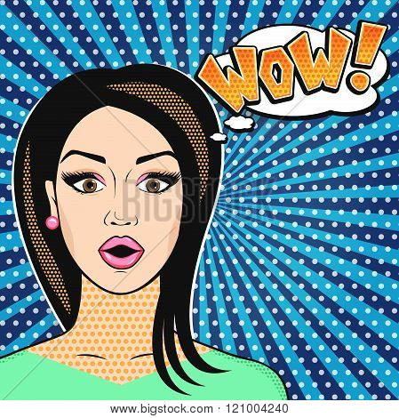 Pop art surprised woman face with open mouth WOW sign in comic style retro effect vector illustration