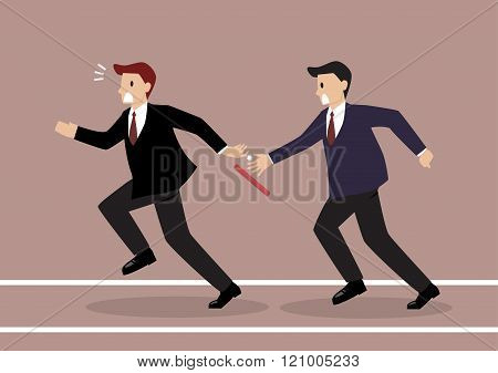 Businessman Fail To Passing The Baton In A Relay Race Competition