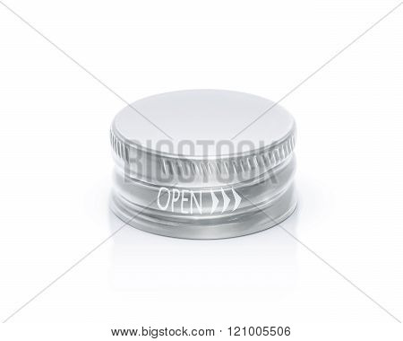 Silver Cap Of Bottle Isolated On White Background