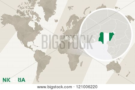 Zoom On Nigeria Map And Flag. World Map.