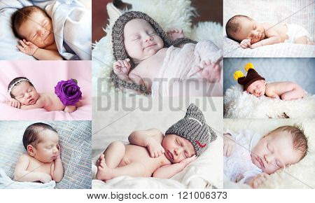 Collage with cute little newborn
