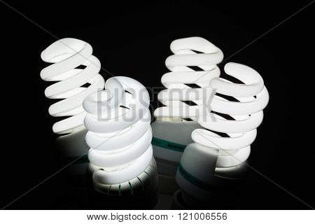 Four Glowing Fluorescent Lamp