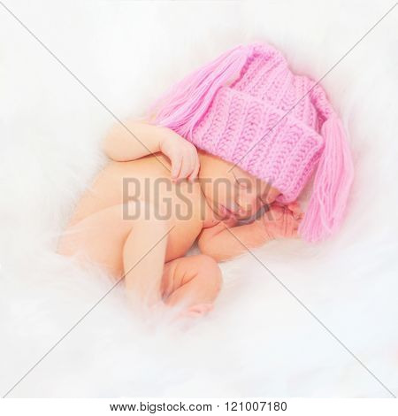 Sleeping Newborn Baby. Birth Concept.