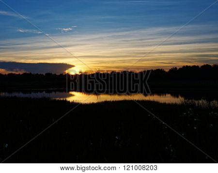 Sunrise Over WaterGreen Cay Wetlands Florid
