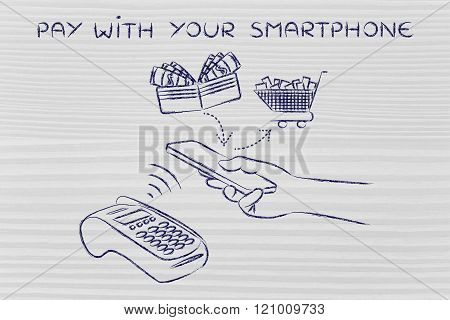 Customer At Contactless Pos, Pay With Your Smartphone