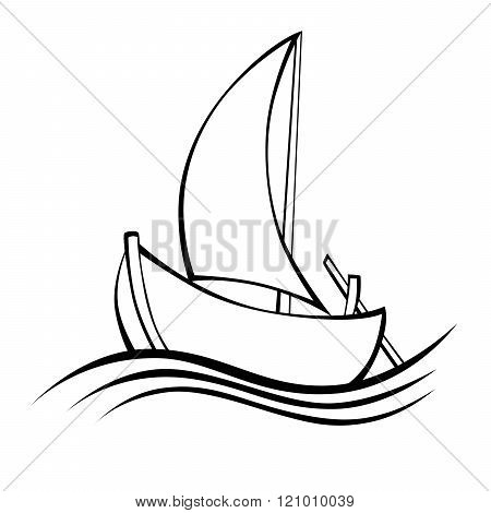 Sailing boat black white isolated object illustration vector